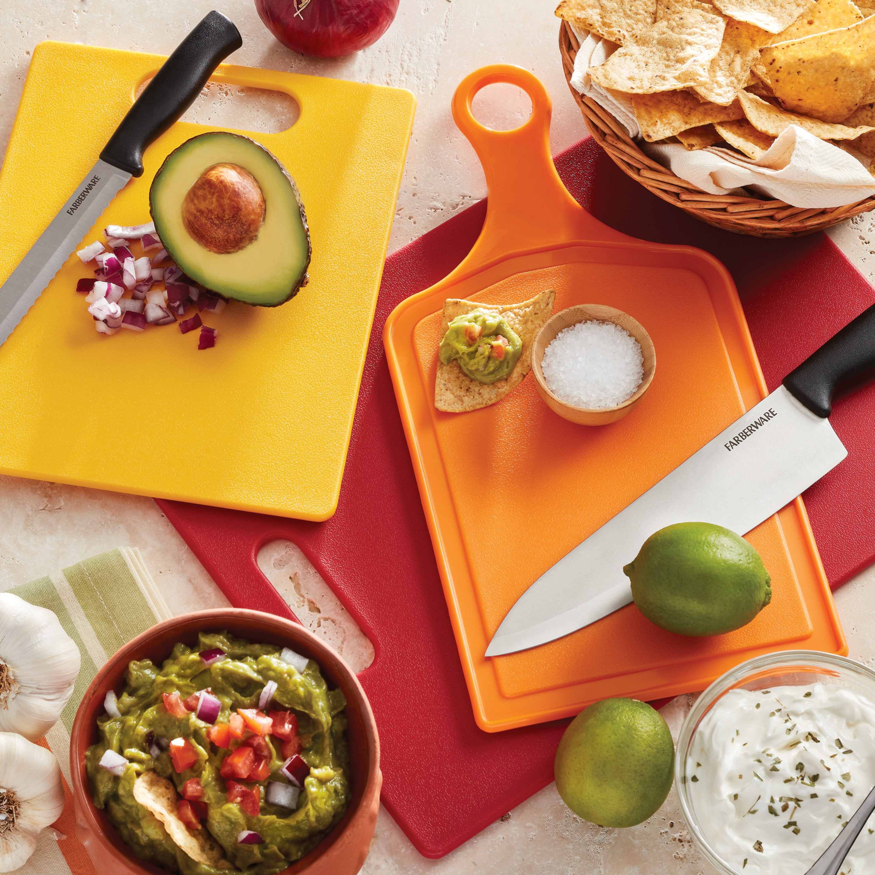 Farberware 3 Piece Poly Cutting Board Set In Warm Colors