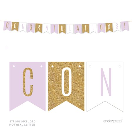 Baptism Banner (Signature Lavender, White, Gold Glittering Party, Hanging Pennant Banner, Congratulations!, Girl Baptism)