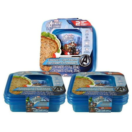 Avengers Marvel Comics Avengers Assemble Sandwich Containers (6pc Set) Novelty Character Food Storage (Novelties Store)