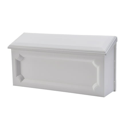 Gibraltar Mailboxes Windsor Medium Rust-Proof Plastic White Wall Mount Mailbox,