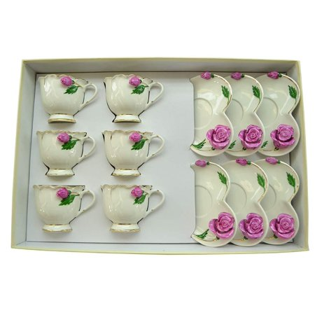 (D) Royalty Porcelain 12-pc Ivory Coffee Cup and Saucer with 3d Flowers for 6