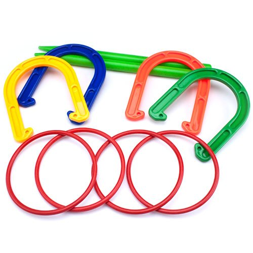 K-Roo Sports 2-in-1 Horseshoes & Ring Toss Game Set, Indoor & Outdoor Fun
