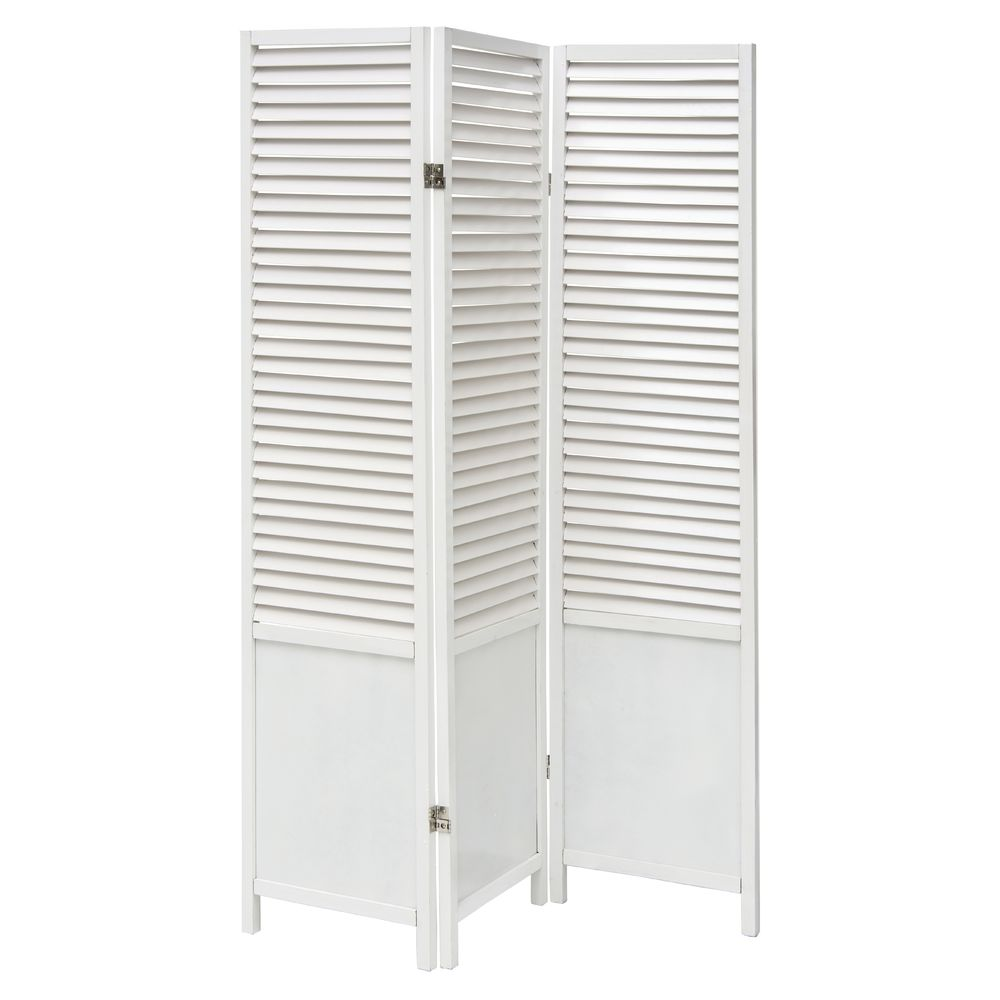 Wooden Floor Screen Room Divider White