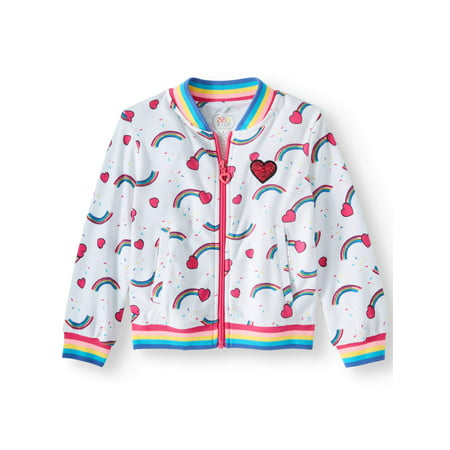 Rainbow Print Bomber Jacket (Little Girls & Big Girls)