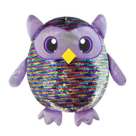 Shimmeez, Large Size Leo Owl, Sequin Plush Stuffed Animal (Owl Pillow Stuffed Owl)