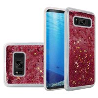 Samsung Galaxy S8 Case, Premium Luxury Glitter Sparkle Bling Hybrid Quicksand Designer Case for Samsung Galaxy S8 SM-G950U,Hot Pink