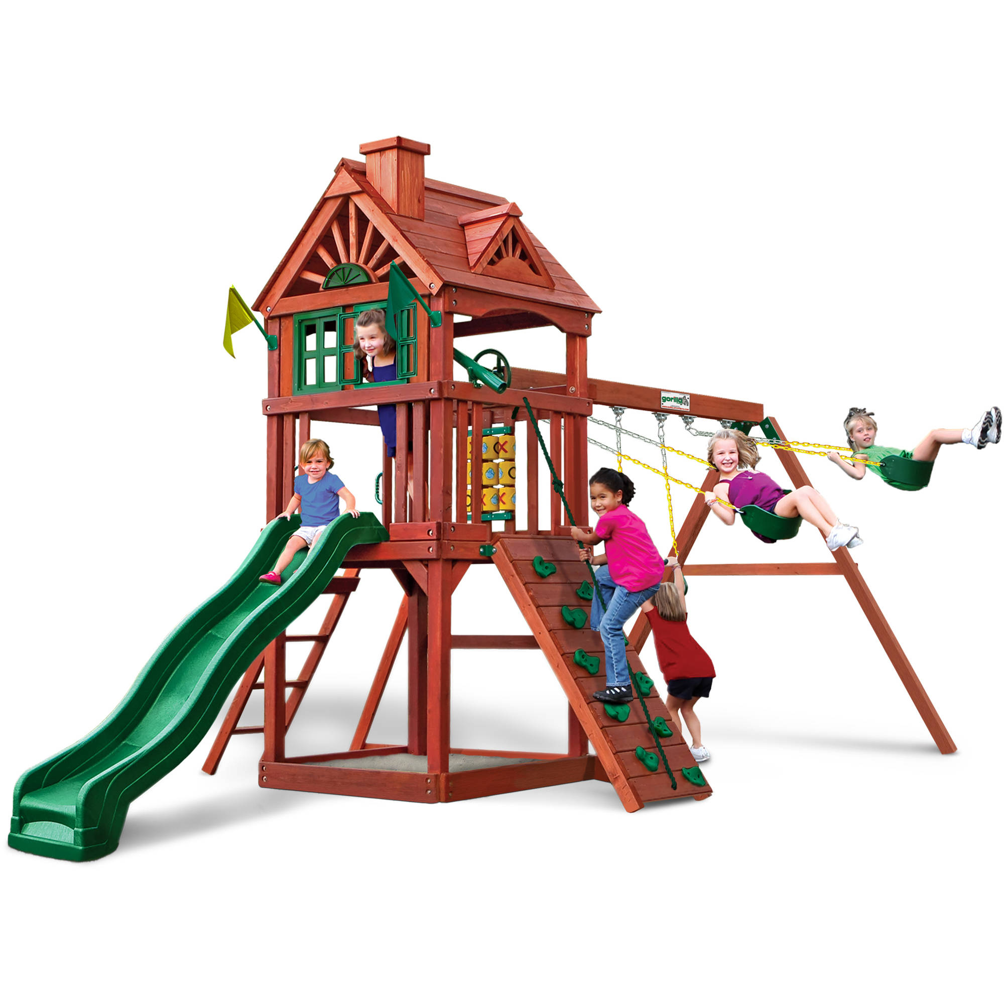 Gorilla Playsets Landing Cedar Wooden Swing Set