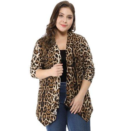 caf0d0c57 Unique Bargains - Women s Plus Open Front Leopard Print Cardigan ...