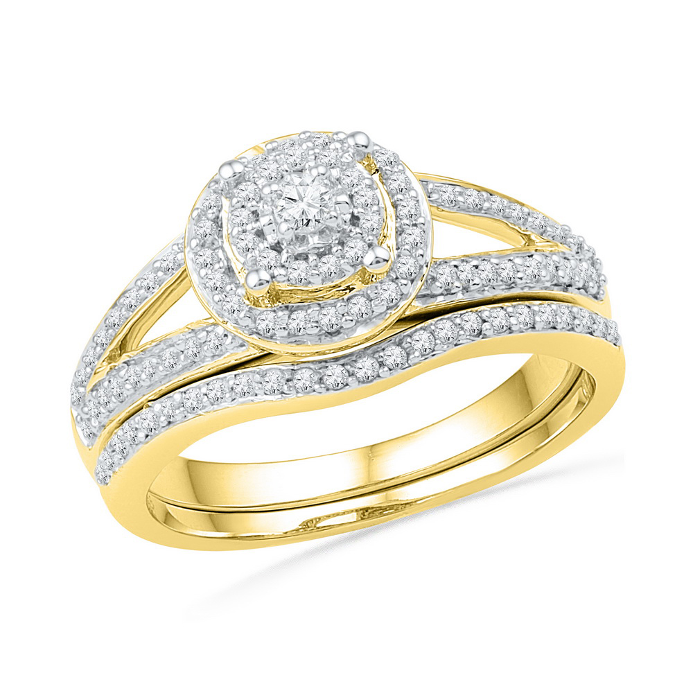 10kt Yellow Gold Womens Round Diamond Halo Split-shank Bridal Wedding Engagement Ring Band Set 1 2 Cttw by GND