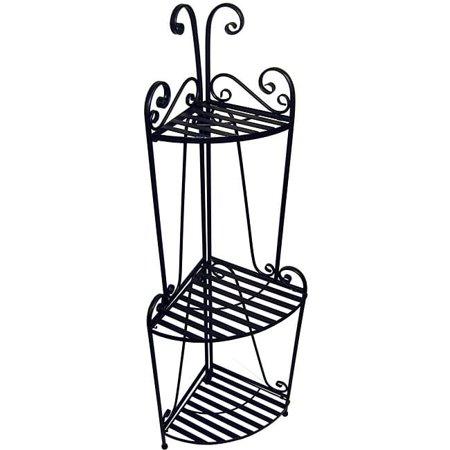 Aspire Corner Bakers (Folding Corner Bakers Rack with Three Shelves in Black (Three)