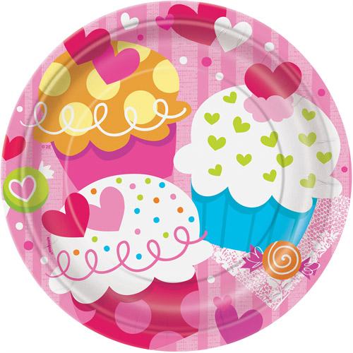 "7"" Cupcake Hearts Valentine Dessert Plates, 8-Count"
