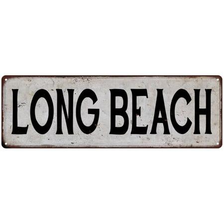 LONG BEACH Vintage Look Rustic Metal City State Sign 6 x 18 High Gloss Metal 206180041290