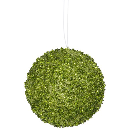 4ct Lime Green Sequin And Glitter Drenched Christmas Ball Ornaments 4 100mm