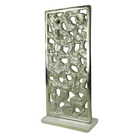 Rectangular Shaped Aluminum Sculpture With Marble Base, (Rectangular Sculpture)
