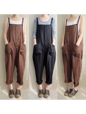 fbf0fbc71e0a7f Product Image Summer Autumn Loose Rompers Women Backless Button Pockets  Strap Solid Jumpsuits Strapless Ankle Casual Overalls Jumpsuits