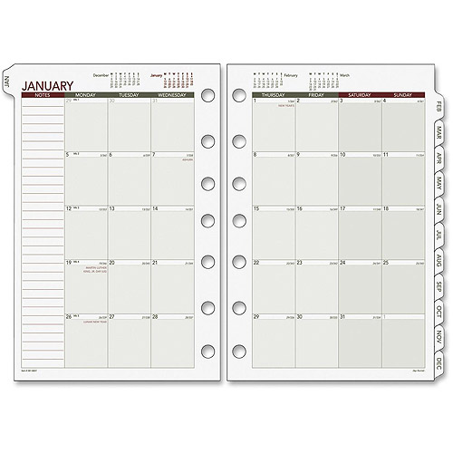 Day Runner Loose-Leaf Monthly Planner Refills