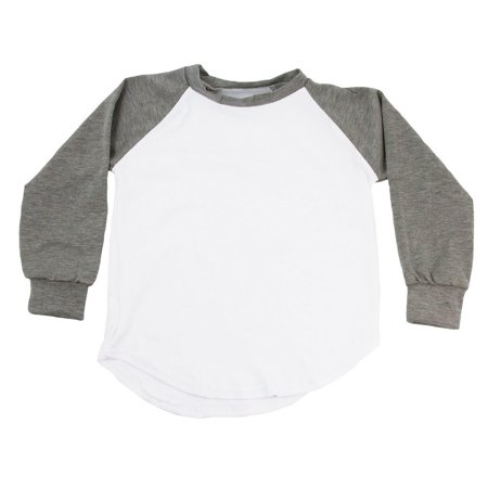 Unisex Little Kids Gray Two Tone Long Sleeve Raglan Baseball T-Shirt 2 Tone Tee