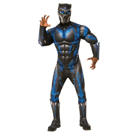 Marvel Black Panther Movie Mens Deluxe Black Panther Battle Suit Halloween Costume