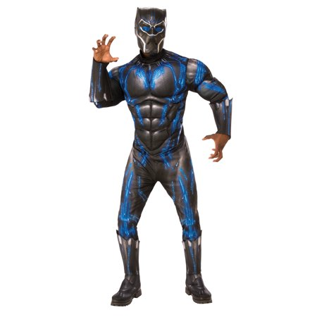 Marvel Black Panther Movie Mens Deluxe Black Panther Battle Suit Halloween Costume (Halloween Costumes Ideas For Men Uk)