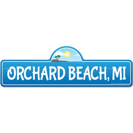Orchard, MI Michigan Beach Street Sign | Indoor/Outdoor | Surfer, Ocean Lover, Décor For Beach House, Garages, Living Rooms, Bedroom | Signmission Personalized Gift ()