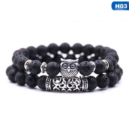 Fancyleo Excellent 2Pcs\/Set Natural Stone Owl Bracelets andamp; Bangles Turquoise Lava Beads Charm Bracelet Set For Women Men Yoga Energy Healing Bracelet Jewelry (Owl Beaded Bracelets)
