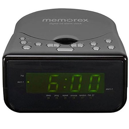 Memorex Top Loading CD Dual Alarm Clock AM FM Stereo Radio with 0.9-Inch Green LED Display and Universal... by