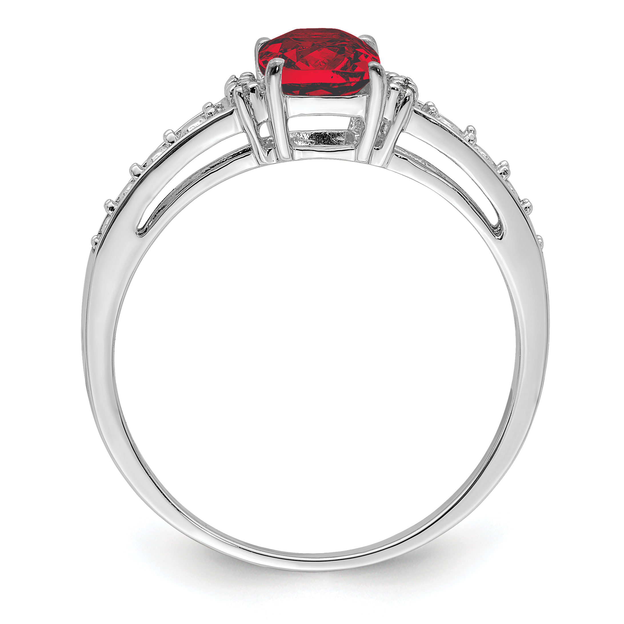 Size 6 Red Almandine Garnet Ring in Sterling Silver Garnet Cushion Ring with Twisted Band