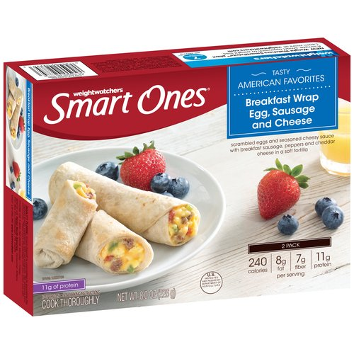 Weight Watchers Smart Ones Tasty American Favorites Egg, Sausage & Cheese Breakfast Wrap. 2 count, 8 oz