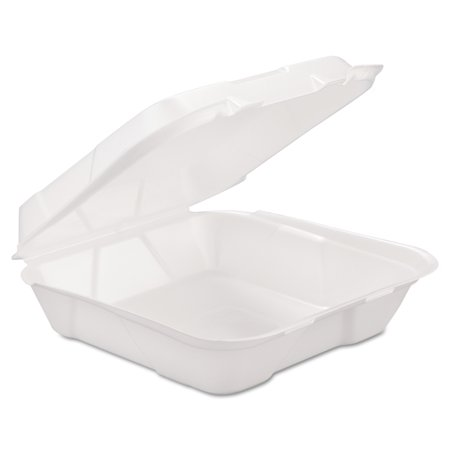 To Go Boxes (GEN Foam Hinged Carryout Container, 1-Comp, White, 9 1/4 X 9 1/4 X 3,)