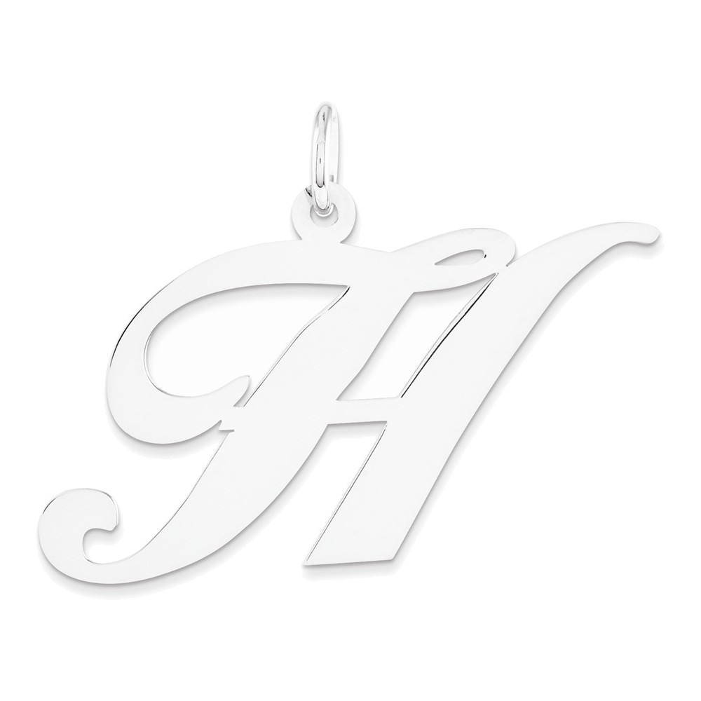 14k White Gold Large Fancy Script Initial H Charm