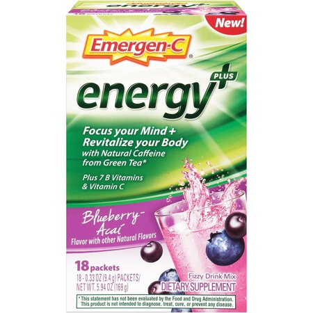 2 Pack Emergen-C Energy+ Fizzy Drink Mix Packets Blueberry-Acai 18 packets each