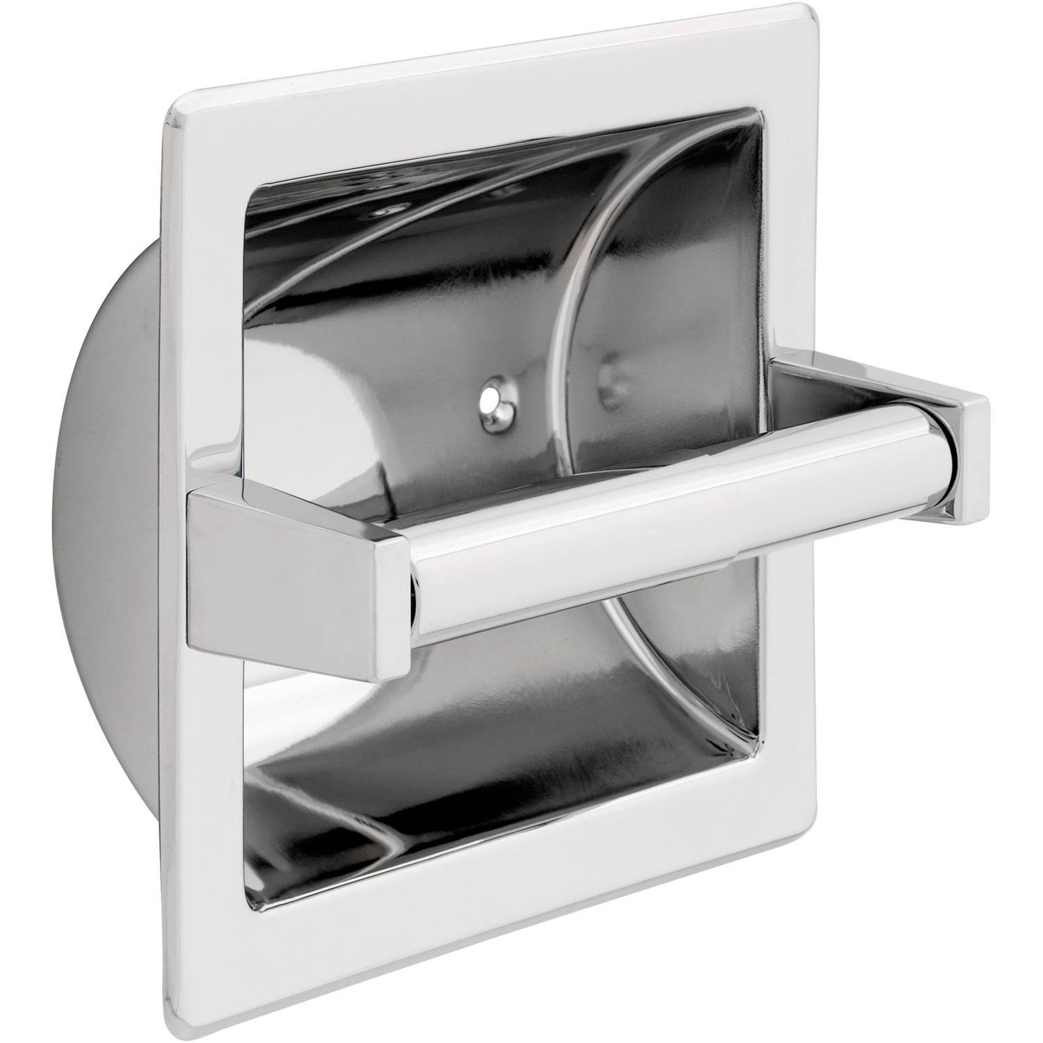 Franklin Brass Recessed Paper Holder with Brass Roller, Polished Chrome