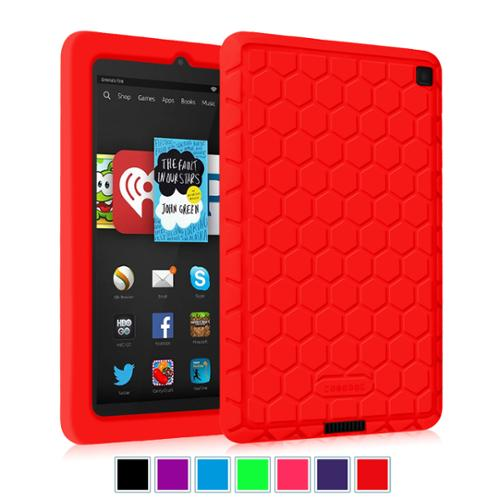 Kindle Fire HD 6 Tablet (2014 Oct Releas) Silicone Case - Fintie Kids Friendly Protective Skin Cover Shock Proof, Red