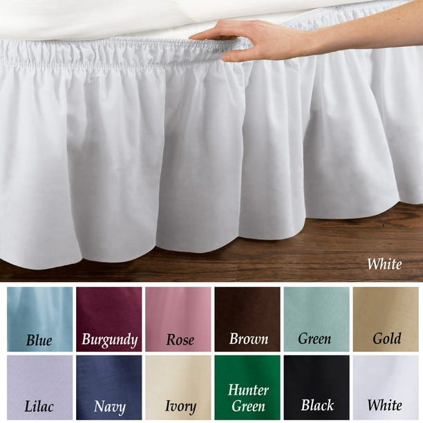 Wrap Around Bed Skirt, Easy Fit Elastic Dust Ruffle, Queen/King
