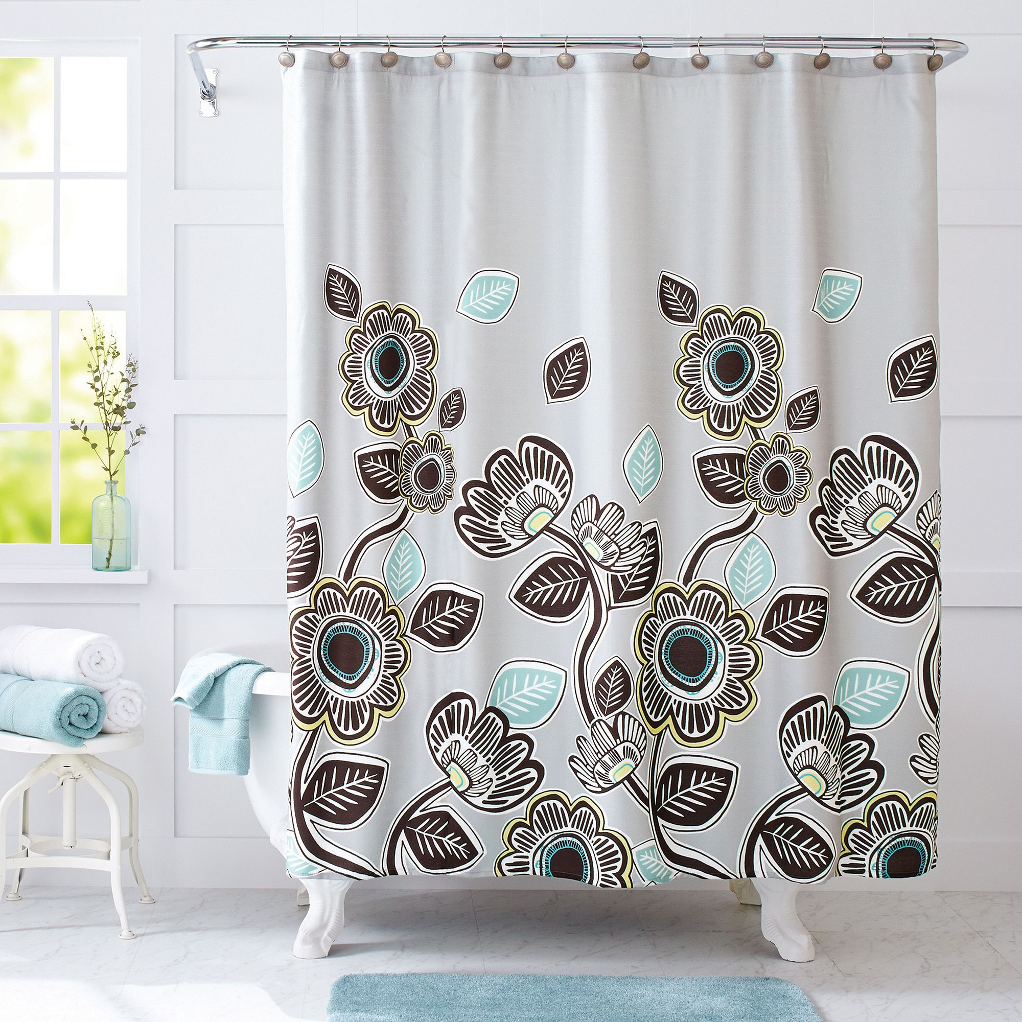 home com kiko blue fabric x curtain kitchen green dp amazon geometric curtains shower graphic interdesign