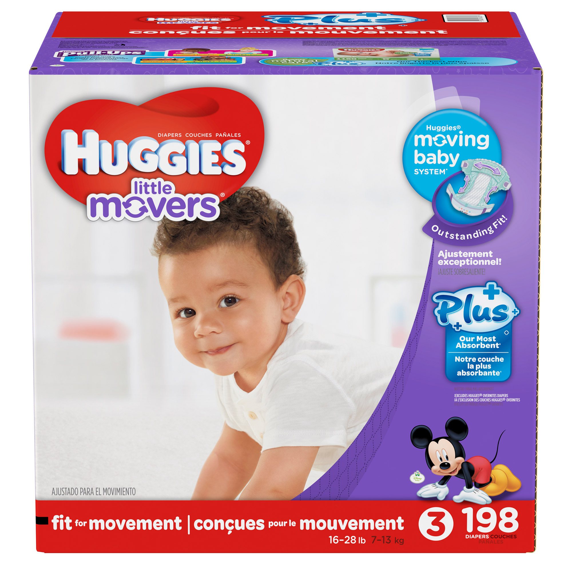 Huggies Little Movers Plus Diapers Size 3 198-count