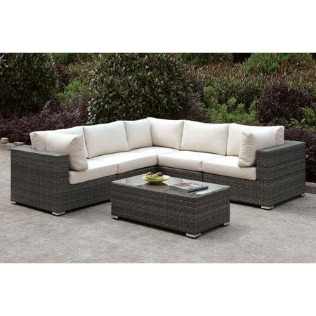 Modern Gray Wicker L-Sectional w/ Coffee Table Furniture of America Somani