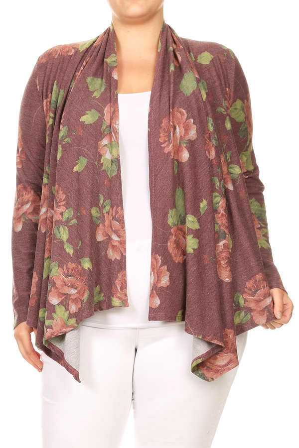Plus Size Women's Open Front Printed Cardigan