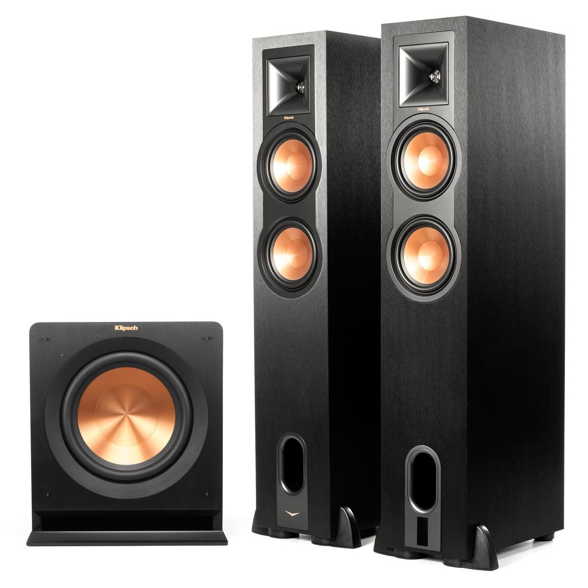"Klipsch R-26PF Powered Floorstanding Speakers with R-110SW 10"" 200 Watt Subwoofer (Black) by Klipsch"