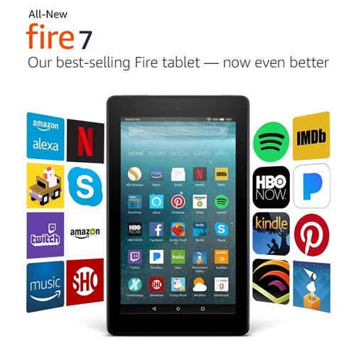 """All-New Fire 7 Tablet with Alexa, 7"""" Display, 8 GB, Black"""