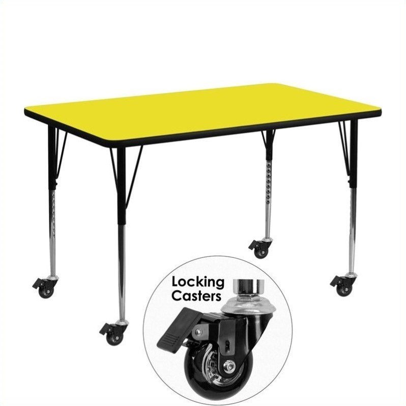 """Flash Furniture 31"""" x 30"""" x 72"""" Rectangular High Pressure Top Mobile Activity Table in Yellow - image 5 of 5"""