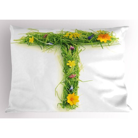 Letter T Pillow Sham Capital Letter from Flowers Grass Image Alphabet Font Design Spring Vibes Print, Decorative Standard Size Printed Pillowcase, 26 X 20 Inches, Multicolor, by