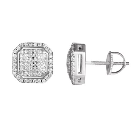 Octagon Earrings Sterling Silver Simulated Diamond Solitaire Screw Back Studs