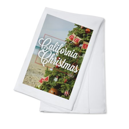 California Christmas - Christmas on the Beach - Sentiment - Lantern Press Photography (100% Cotton Kitchen Towel)