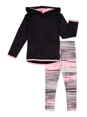Cheetah Toddler Girls Quilted Performance Fleece Hoodie & Printed Legging, 2-Piece Active Set (2T-5T)