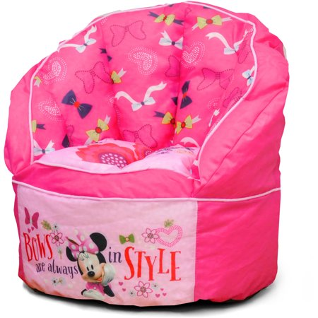 Idea Nuova Character Toddler Bean Bag Chair With Piping In Minnie Mouse