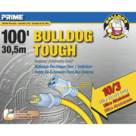 Prime LT511935 100' 10/3 SJTOW Yellow Bulldog Tough Extension - 10/3 Extension Cord