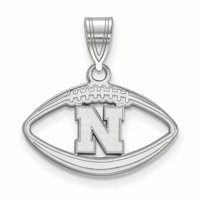 Nebraska Cornhuskers Women's Sterling Silver Logo Football Pendant - No Size