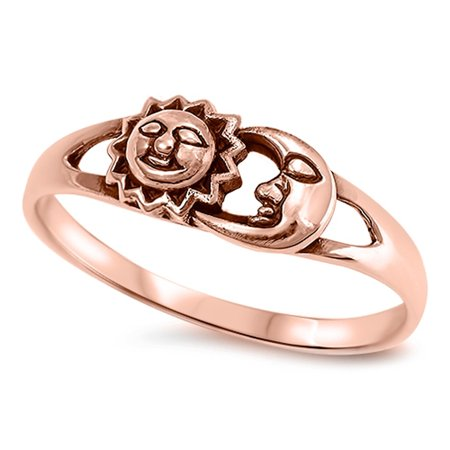 CHOOSE YOUR COLOR Rose Gold-Tone Sun Moon Girl's Boho Ring New 925 Sterling Silver (Sun And Moon Best Friend Rings)