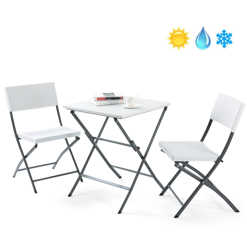 Rfiver pe rattan patio bistro set3 piece set of outdoor foldable garden table and chairs all weather resistant resin wickerwhitech1005 walmart com